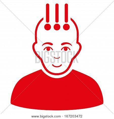 Neural Interface vector icon. Flat red symbol. Pictogram is isolated on a white background. Designed for web and software interfaces.