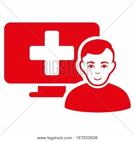 Online Medicine vector icon. Flat red symbol. Pictogram is isolated on a white background. Designed for web and software interfaces.