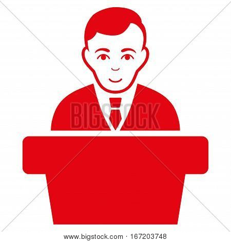 Politician vector icon. Flat red symbol. Pictogram is isolated on a white background. Designed for web and software interfaces.