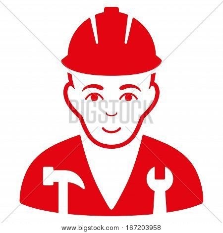 Serviceman vector icon. Flat red symbol. Pictogram is isolated on a white background. Designed for web and software interfaces.