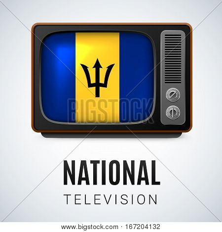 Vintage TV and Flag of Barbados as Symbol National Television. Button with Barbadian flag