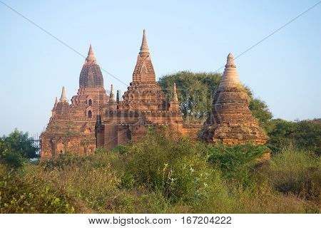 Ancient Buddhist temple Tha Kya Pone in the early morning. Bagan, Myanmar