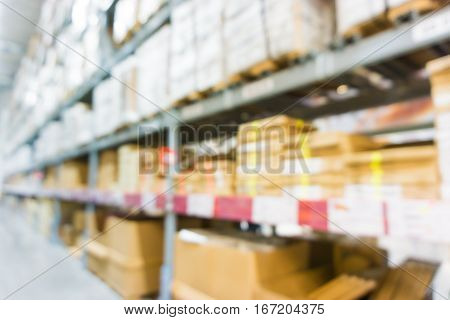 Blurred Distribution Factory Store Box On Row