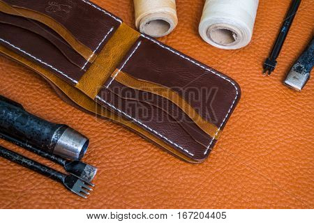 Handmade Of Genuine Leather Wallet Bifold On Craftsmanship Tool