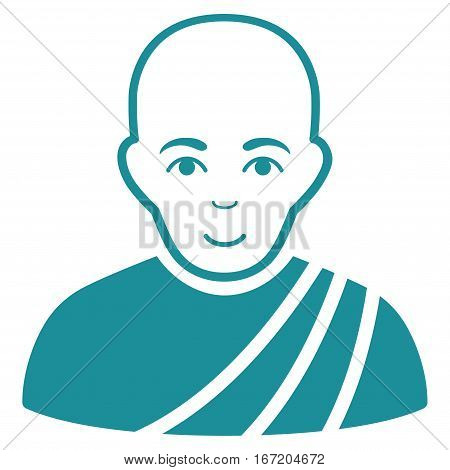 Buddhist Monk vector icon. Flat soft blue symbol. Pictogram is isolated on a white background. Designed for web and software interfaces.