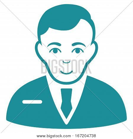 Businessman vector icon. Flat soft blue symbol. Pictogram is isolated on a white background. Designed for web and software interfaces.