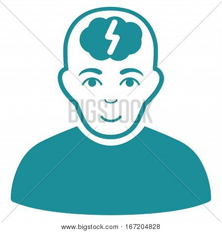 Clever Boy vector icon. Flat soft blue symbol. Pictogram is isolated on a white background. Designed for web and software interfaces.