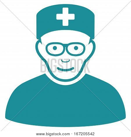 Medical Specialist vector icon. Flat soft blue symbol. Pictogram is isolated on a white background. Designed for web and software interfaces.