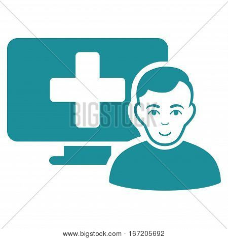 Online Medicine vector icon. Flat soft blue symbol. Pictogram is isolated on a white background. Designed for web and software interfaces.
