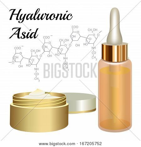 Skin Cream and Emulsion with Hyaluronic Asid. Chemical Formula. Collagen Solution. Supreme Collagen Serum Essence Vector Illustration. Used for Medicine Banner, Poster, Cosmetics Advertising.