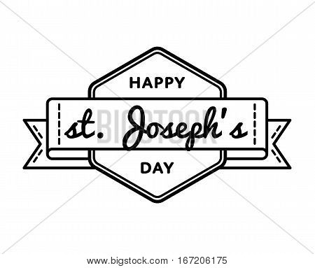 Happy St. Josephs day emblem isolated raster illustration on white background. 19 march world catholic holiday event label, greeting card decoration graphic element