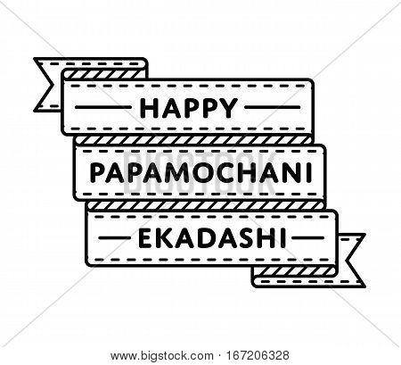 Happy Papamochani Ekadashi emblem isolated raster illustration on white background. 24 march indian religious holiday event label, greeting card decoration graphic element
