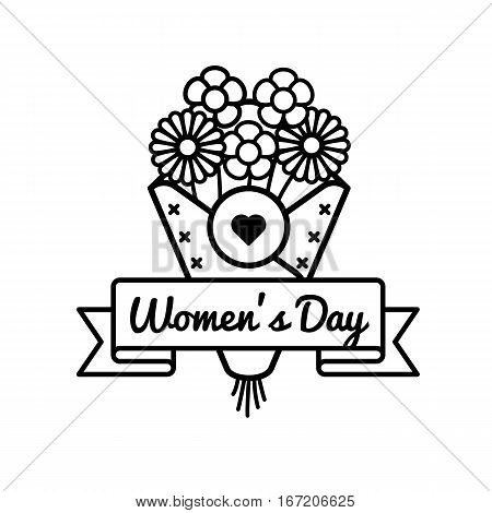 World Womens day emblem isolated raster illustration on white background. 8 march world feminine holiday event label, greeting card decoration graphic element