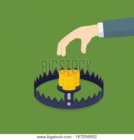 Money Trap, People Hand Going To Take Dollar Coins On Bear Trap