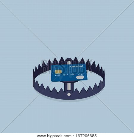 Financial Trap Illustration, Credit Card with Bear Trap