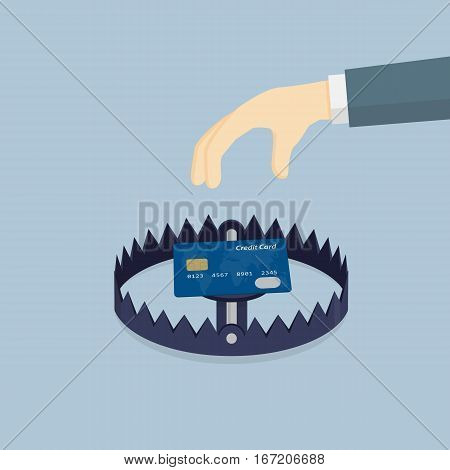 Financial Trap, Hand Going To Take Credit Card In Bear Trap