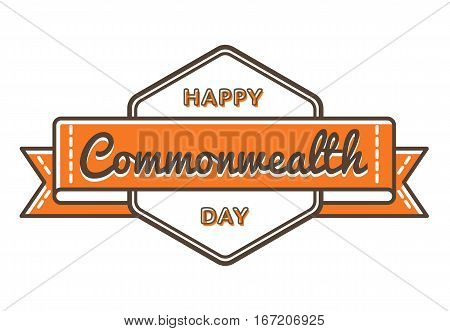 Happy Commonwealth day emblem isolated raster illustration on white background. 13 march world holiday event label, greeting card decoration graphic element