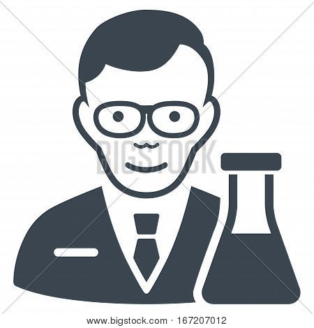 Chemist vector icon. Flat smooth blue symbol. Pictogram is isolated on a white background. Designed for web and software interfaces.