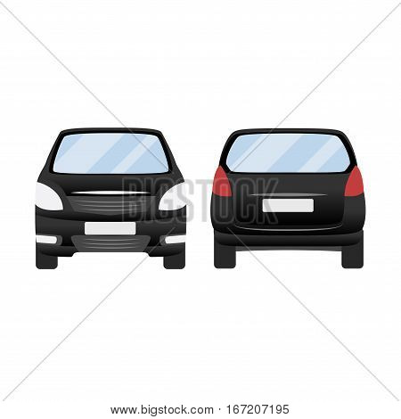 Black Car Vector Template. Isolated Family Vehicle Set On White Background. Vector Illustration With