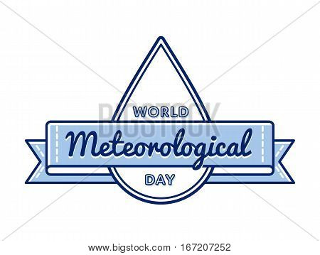 World meteorological day emblem isolated raster illustration on white background. 23 march international holiday event label, greeting card decoration graphic element