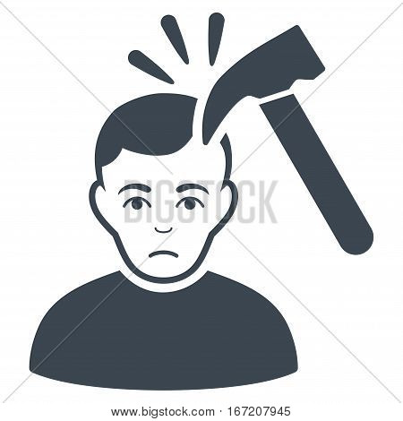 Murder With Hammer vector icon. Flat smooth blue symbol. Pictogram is isolated on a white background. Designed for web and software interfaces.