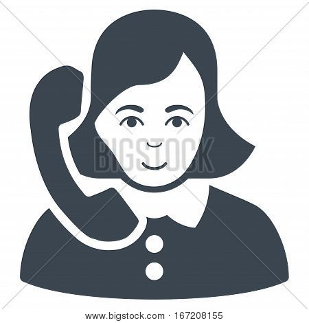 Receptionist vector icon. Flat smooth blue symbol. Pictogram is isolated on a white background. Designed for web and software interfaces.