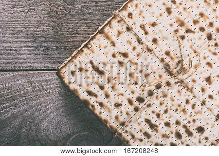 Jewish matza on Passover. Traditional Jewish food