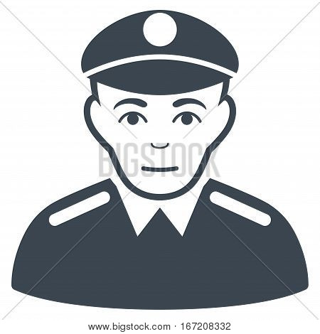Soldier vector icon. Flat smooth blue symbol. Pictogram is isolated on a white background. Designed for web and software interfaces.