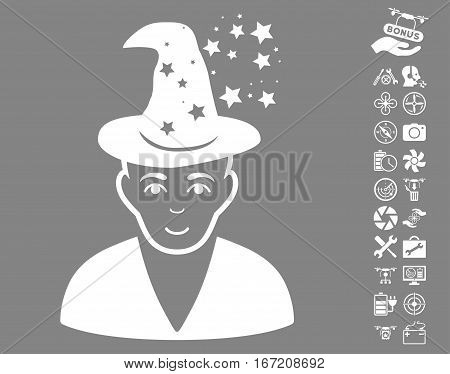 Magic Master icon with bonus aircopter service clip art. Vector illustration style is flat iconic white symbols on gray background.