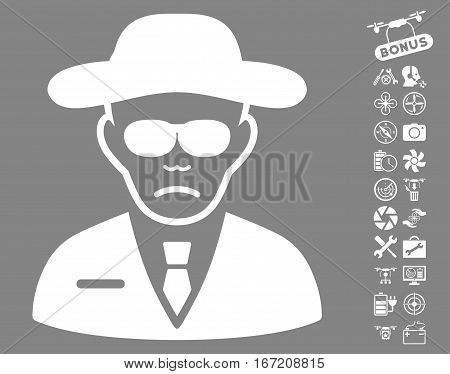 Security Agent pictograph with bonus flying drone tools icon set. Vector illustration style is flat iconic white symbols on gray background.