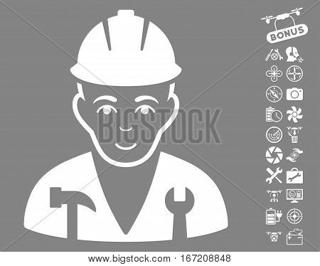Serviceman icon with bonus copter service icon set. Vector illustration style is flat iconic white symbols on gray background.