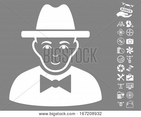 Spy pictograph with bonus copter tools clip art. Vector illustration style is flat iconic white symbols on gray background.