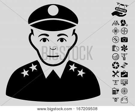 Army General pictograph with bonus flying drone service symbols. Vector illustration style is flat iconic black symbols on light gray background.