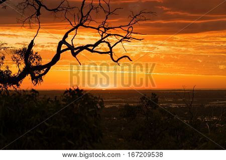 Red sunset over Perth city viewed from the hills in Kalamunda. Western Australia, Australia.