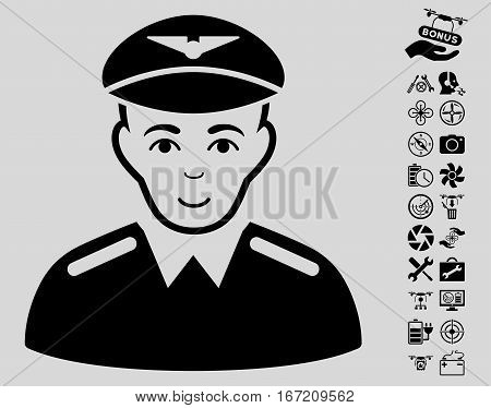 Aviator icon with bonus nanocopter tools pictograms. Vector illustration style is flat iconic black symbols on light gray background.
