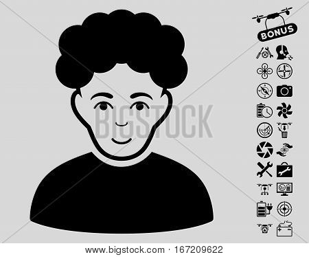 Brunet Man pictograph with bonus uav tools icon set. Vector illustration style is flat iconic black symbols on light gray background.