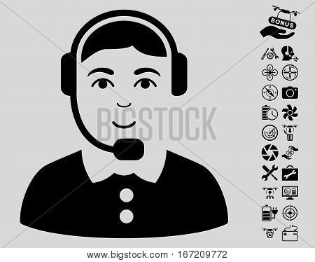 Call Center Operator pictograph with bonus nanocopter service icon set. Vector illustration style is flat iconic black symbols on light gray background.