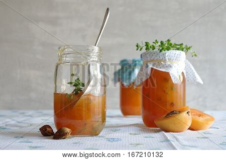 fresh tasty homemade jam with apricot and thyme