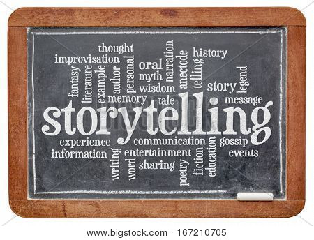 storytelling word cloud on an old slate blackboard isolated with a clipping path
