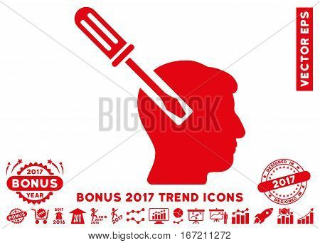 Red Head Screwdriver Tuning pictograph with bonus 2017 year trend elements. Vector illustration style is flat iconic symbols, white background.