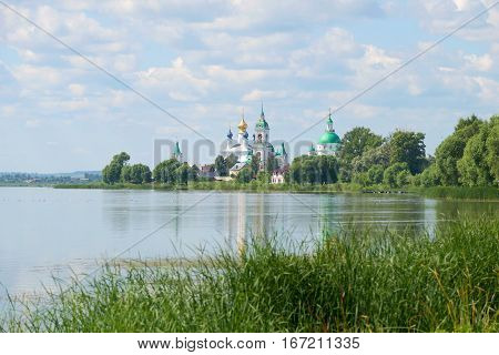 Cloudy July day on lake Nero. Rostov Veliky, Golden ring of Russia