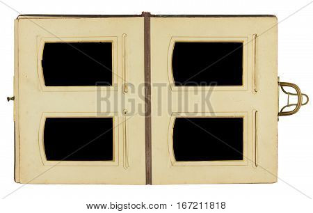 Double page of vintage photo album circa 1900 with clasp and four frames for inserting photos, isolated on white background, contains clipping paths for all elements including photo frames