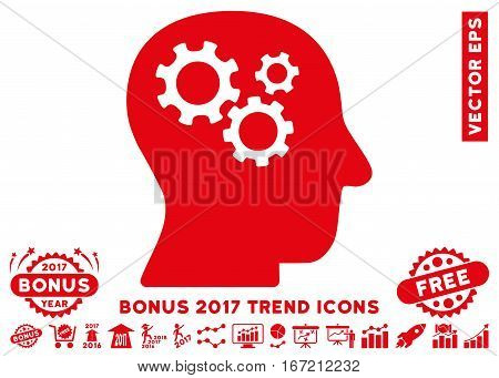 Red Intellect Gears pictograph with bonus 2017 trend icon set. Vector illustration style is flat iconic symbols, white background.