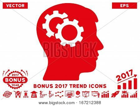 Red Intellect Gears icon with bonus 2017 year trend clip art. Vector illustration style is flat iconic symbols, white background.