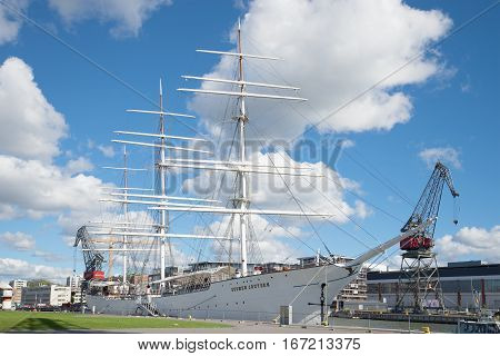 TURKU, FINLAND - AUGUST 27, 2016: Old sailing ship