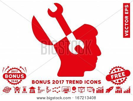 Red Mind Wrench Tools pictograph with bonus 2017 year trend design elements. Vector illustration style is flat iconic symbols, white background.