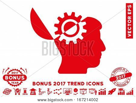 Red Open Mind Gear pictogram with bonus 2017 year trend clip art. Vector illustration style is flat iconic symbols, white background.