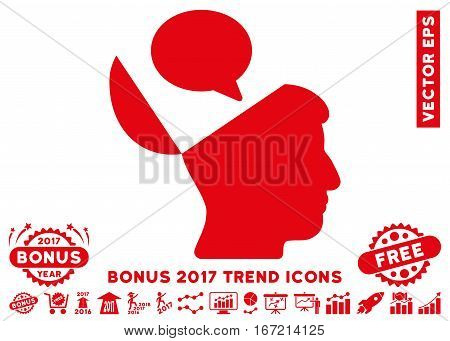 Red Open Mind Opinion icon with bonus 2017 trend clip art. Vector illustration style is flat iconic symbols, white background.