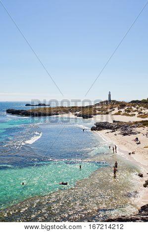 The Basin is a popular beach for a swim on a hot summer day. Rottnest Island, Perth, Western Australia, Australia.