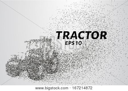 Tractor of the particles. The tractor consists of circles and points. Vector illustration